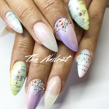 Unicorn Hologram Pastal Tone w/ Swarovski Crystals Press On Nails | Any Shape | Fake Nails | False Nails | Glue On Nails