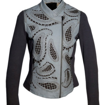 Women Leather Designer Paisley Cut Jacket in Front and back with Ribbed Sleeves