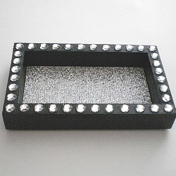 Black & Bling Jewelry or Office Supply Organizer/ Tray w/ Sparkling Silver Glitter Surface