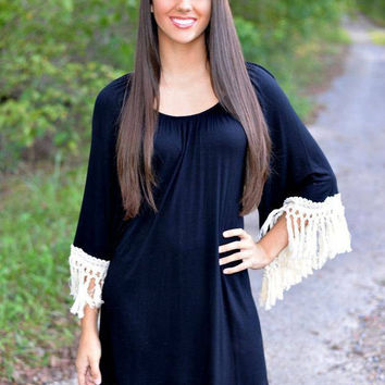 Black Mini A-line Dress with Tassel Detail