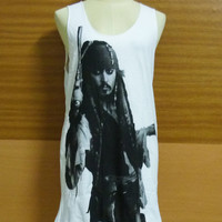 Workout Shirts — Jack Sparrow Hollywood Actor Johnny Depp Pirates of the Caribbean Cotton White Unisex Vest Tank Top