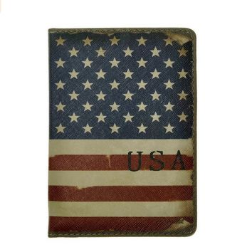 Vintage Leather Travel Us Flag Passport Cover Holder