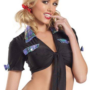 School Girls BW1016BPL Black Top With Plum Plaid Trim Costume - Be Wicked