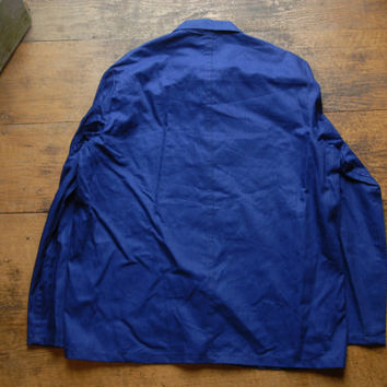 "Vintage Sanforized French/German Blue Factory Workers Chore Jacket 40"" EU 50  Workwear Distressed Cotton Herringbone"