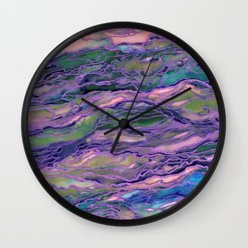 MARBLE IDEA! LAVENDER PINK PEACH Abstract Watercolor Painting Colorful Geological Nature Marbled Art Wall Clock by EbiEmporium