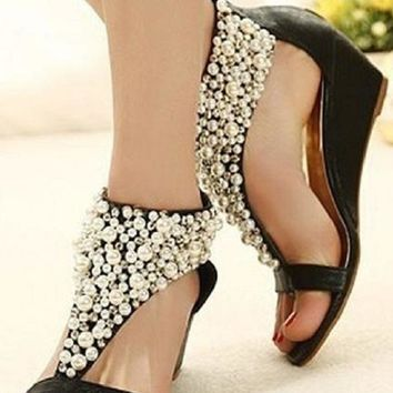 Rhinestone and Pearl Beaded Wedge Sandal