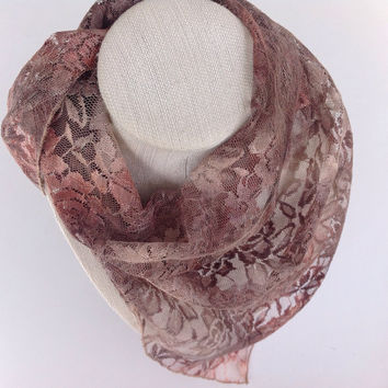 Brown Camo lace scarf, Tan head scarf, Gift for Her, Holiday Gift, Hunter wife gift, Stocking stuffer, Gift for coworker