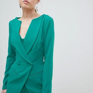 Lavish Alice Off The Shoulder Double Breasted Blazer Style Romper at asos.com