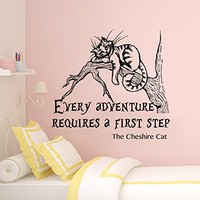 Cheshire Cat Wall Decal Alice In Wonderland Wall Decal Quote Every Adventure Requires a First Step Kids Nursery Art Decor SN87