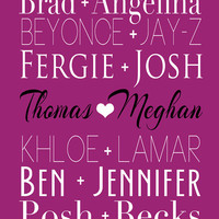 Celebrity Couples, Custom Names, Hollywood Theme 8x10 Art Print, Subway Art, Typography, Pairs, Famous Couples, Beyonce, Brad, Angelina