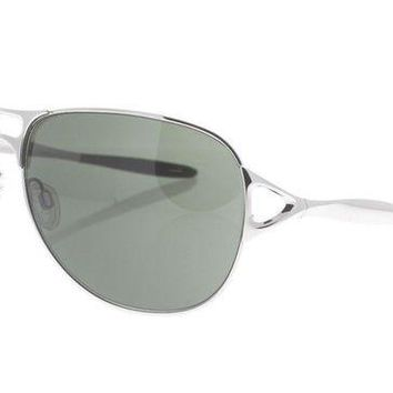 DCCKB7E OAKLEY Hinder OO 4043-02 Polished Silver & Brown / Warm Gray Sunglasses NWC AUTH