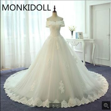 Stylish ball gown real picture wedding dress off the shoulder appliques wedding dresses beading pearls bride dress