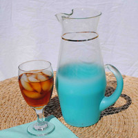 VINTAGE BLENDO GLASS Frosted Aqua Pitcher and Four Glasses by West Virginia Glass Company