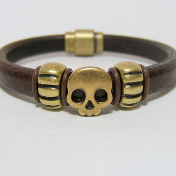 Brown Licorice Leather Men's Bracelet ~ Brass Skull & Tire Tube spacers - Magnetic Clasp - Genuine Leather - custom sizing ~ Regaliz
