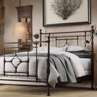 19th C. Quatrefoil Iron Bed