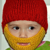 Baby Beard Hat, Knitted Beard Hat, Baby Beard Beanie, Kids-All Sizes, All Colors, Baby Bearded Cap, Baby Bearded Hat, Baby Bearded Beanie