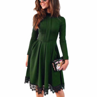 Promotion Fashion Women Sexy Long Sleeve Slim Maxi Dresses Green Party Dresses -0331
