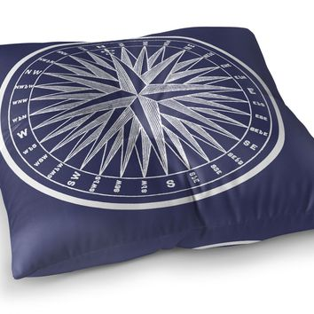 NAUTICAL COMPASS Floor Pillow By Terri Ellis