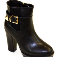 Black Side Buckle Bootie With Chunky Heel