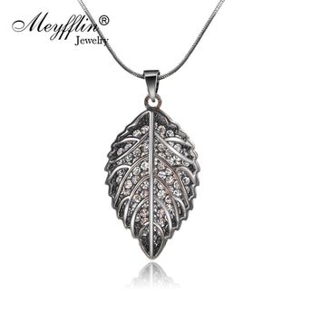 New Black Crystal Chain Hollow Leaf Pendants  Necklaces
