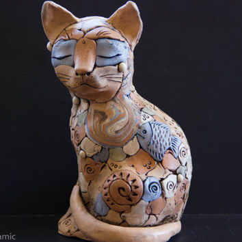Cat Mug Figurine Sculpture Cute Clay Art decor, Decorative Collectible Cat lady statue, Cat lover gift, Ceramic Animal Totem, New home gifts