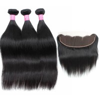 10A Virgin Mink Brazilian Straight Hair with 13*4 Lace Frontal