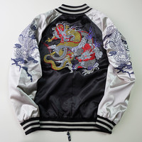 Japanese Black Silver Japan Dragon Badass Cool Ryu Sukajan Souvenir Jacket