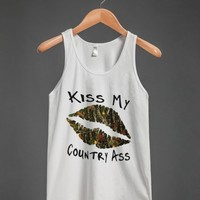 kiss my ass camo lips tank top-Unisex White Tank