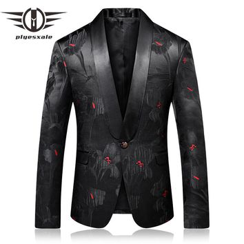 Prom Blazer Men Slim Fit Men Shawl Collar Blazer Fashion Printed Male Stage Wear Casual