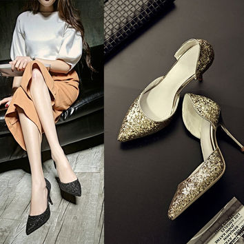 Summer Pointed Toe High Heel Leather Shoes [4919952388]