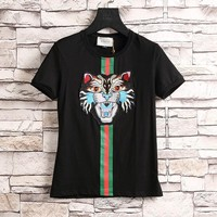 One-nice™ GUCCI Fashion Angry Cat Short Sleeve Shirt Top Tee