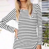 Striped Long-Sleeve Asymmetrical Dress
