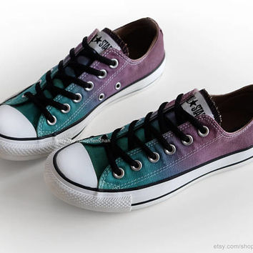 Ombré dip dye Converse, green turquoise, purple, chocolate brown, low tops, upcycled sneakers, size EU 38 (UK 5.5, us wo's 7.5, us mens 5.5)