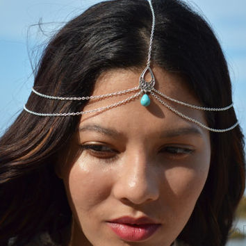 WINTER SALE Chain Headpiece Boho Head Jewelry Bohemian Headband Headdress Gypsy Jewelry Chic Bohemian Hair Jewelry Isadora Silver Drapes