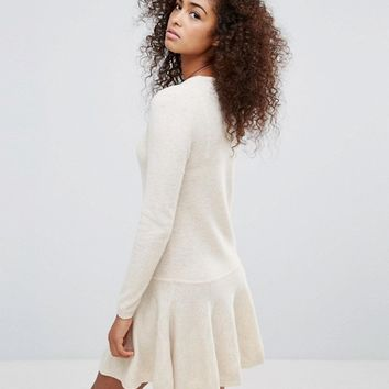 Ganni Mercer Knitted Merino & Yak Wool Dropped Hem Dress at asos.com