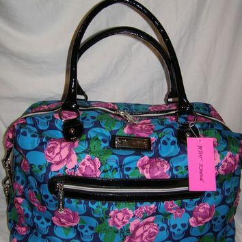 Betsey Johnson Skulls in Bloom Teal Weekender Bag/Duffle/Tote/Purse NWT