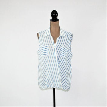 Women Plus Size Top XL Sleeveless Summer Top Blue White Stripe Top Loose Fitting Blouse XL Plus Size Clothing Womens Clothing