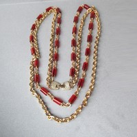 Chunky Long 1960's Double Heavy Chains + Root Beer Lucite Beads Necklace