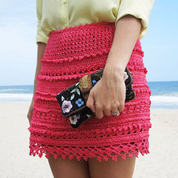 Crocheted skirt made to order crochet handmade chic elegant spring summer beach