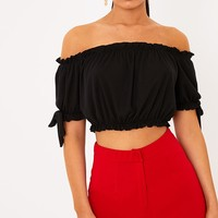 Norah Black Bardot Bow Sleeve Jersey Crop Top