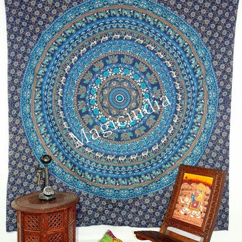 Blue Camel Mandala Tapestry, Hippie Mandala Throw, Indian Printed Bed Covers, Mandala Curtains Table Cover, Blue Mandela Tapestries
