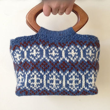 Knit Purse / Hand Knit Small Purse / Knit Bag / Knitted Bag / Denim Blue Purse / Knitted Purse / Wool Bag