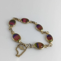 Sarah Coventry, Multi Colored Glass cabochons, Rainbow Bracelet, Gold tone, Vintage jewelry