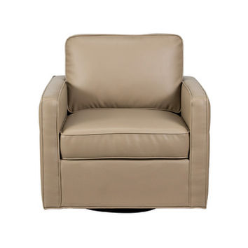 Diamond Sofa Tanner Retro Tufted Swivel Chair in Taupe
