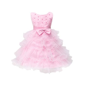 Flower Girl Party Bridesmaid Pageant Princess Dress For Little Girls Glitz Organza Communion Dresses Size SM6