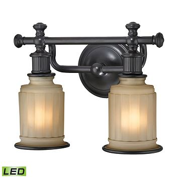 Acadia 2-Light Vanity Lamp in Oiled Bronze with Opal Reeded Pressed Glass - Includes LED Bulbs