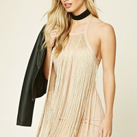 Metallic Fringe Mini Dress