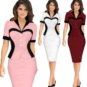 Women's Elegant Lapel Colorblock Optical Illusion Patchwork Faux Twinset Wear to Work Office Sheath Bodycon Dress [9305824583]