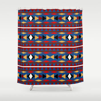 Aztec Blue Pattern Art Shower Curtain by Christina Rollo | Society6