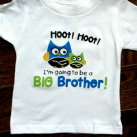 I'm going to be a big brother, Owl Big Brother, Funny Baby Clothing, White Baby Bodysuit, Big Brother Infant, Pregnancy Announcement